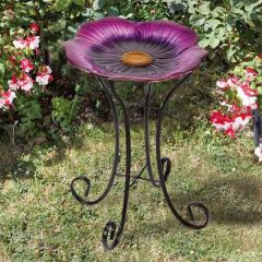 Large Shimmering Pansy Bird Bath