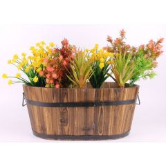 Rustic Burnt Wood Oval Planter