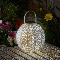 Cream Damasque Solar Lantern