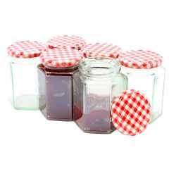 Jam Jars With Red Gingham Lids (6)
