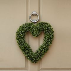 Faux Boxwood Hanging Heart
