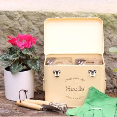 Vintage Cream Metal Seed Storage Tin