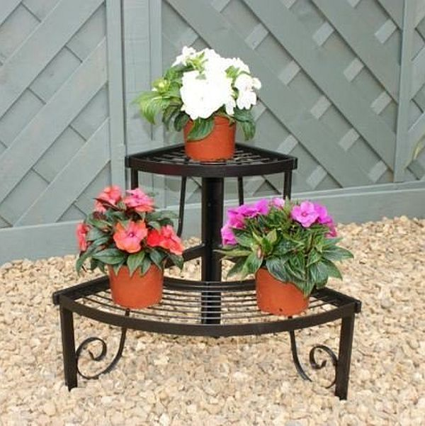Corner Plant Pot Stand, 2 Shelves