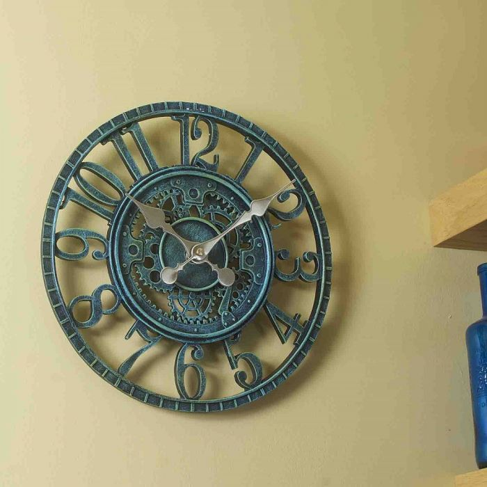 Outside Wall Clock - Newby Mechanical Verdigris 12