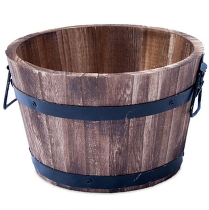 Burnt Wood Garden Barrel for Plants or Water Features