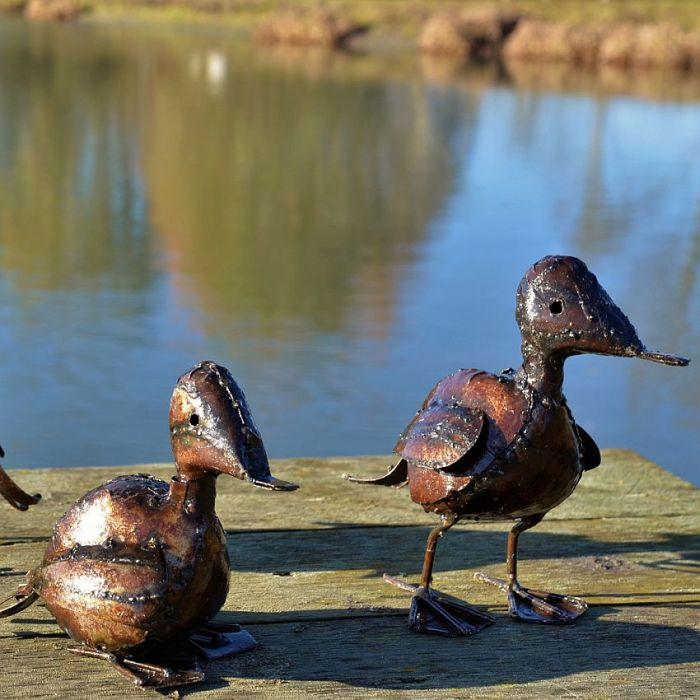 Metal Duckling Garden Ornament
