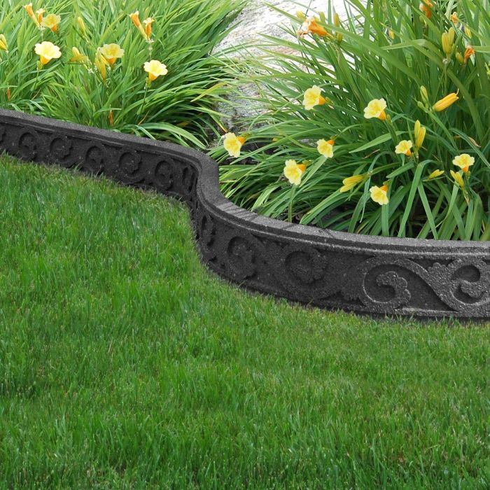 Flexible Garden Border, Scroll Effect, Grey 1.2m