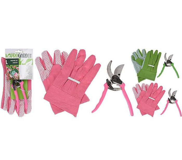 Garden Gloves and Shears Set Green