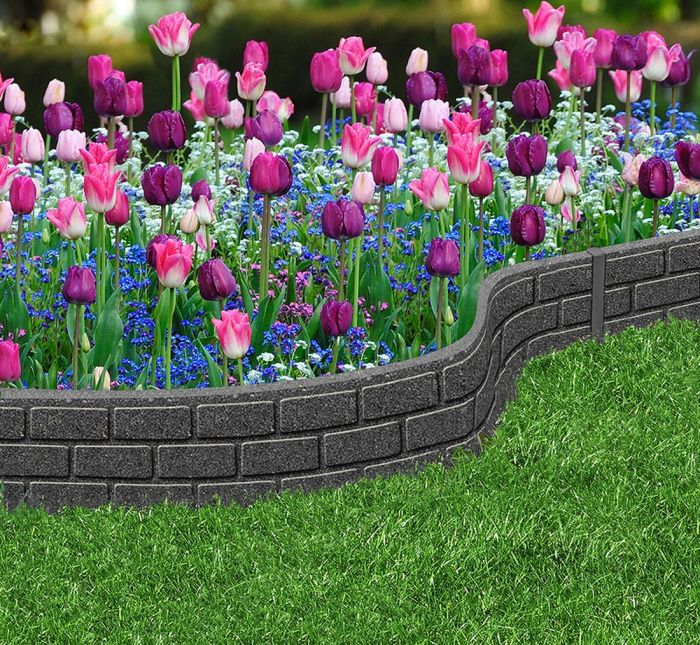 Recycled Rubber Edging, Brick Effect 1.2m Grey