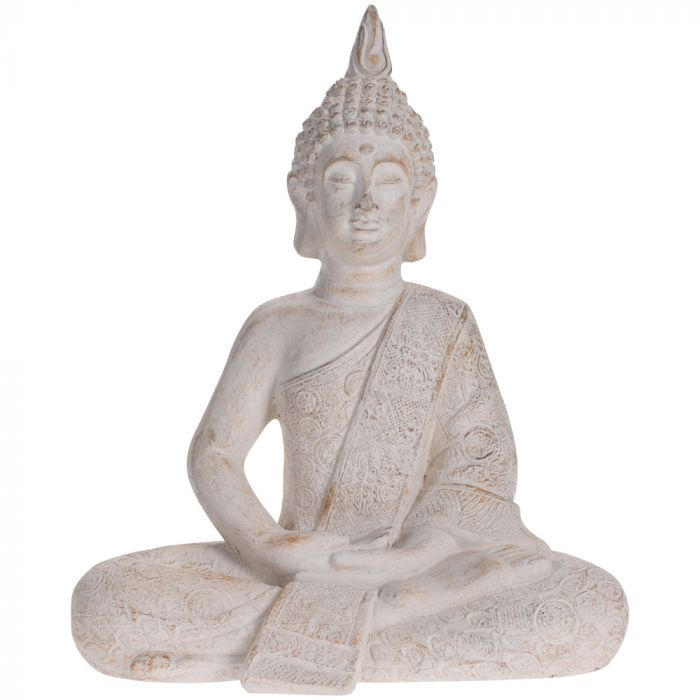 Worn Effect Cream Sitting Buddha Statue