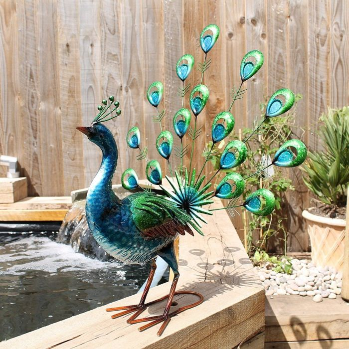 Vibrant Fan Tail Metal Peacock
