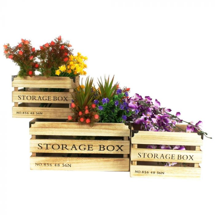 Wooden Storage Crate Boxes Set Of 3